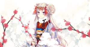 Rating: Safe Score: 90 Tags: ceru flowers japanese_clothes kimono long_hair original pink_eyes User: Flandre93
