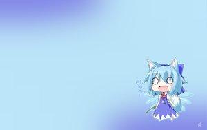 Rating: Safe Score: 82 Tags: animal_ears blue_hair chibi cirno fairy fang gradient ookami_to_koushinryou parody reku short_hair tail touhou wings wolfgirl User: SciFi