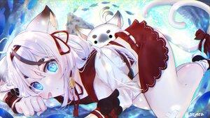 Rating: Safe Score: 57 Tags: animal_ears aqua_eyes bandaid bell catgirl dress ewica_(vtuber) long_hair multiple_tails signed tagme_(artist) tail white_hair User: BattlequeenYume