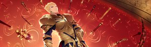 Rating: Safe Score: 51 Tags: armor blonde_hair cait chain fate/stay_night fate/zero gilgamesh red red_eyes weapon User: FormX