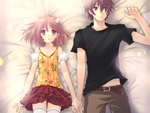 Rating: Safe Score: 119 Tags: bed blush brown_hair flyable_heart game_cg inaba_yui itou_noiji katsuragi_syo ribbons short_hair skirt thighhighs User: Tensa