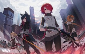 Rating: Safe Score: 74 Tags: animal_ears arknights black_hair blonde_hair building cape city clouds croissant_(arknights) exusiai_(arknights) gloves group gun halo horns logo orange_hair pantyhose phone ponytail red_eyes red_hair shirt short_hair shorts skirt sky sora_(arknights) sword tail texas_(arknights) thighhighs tie tttanggvl twintails weapon wings zettai_ryouiki User: otaku_emmy