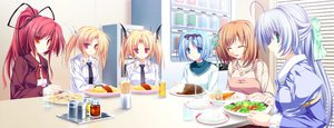 Rating: Safe Score: 21 Tags: alicia_infans blonde_hair blue_hair food game_cg green_eyes group koyuki_amagase kujou_yuuka long_hair magus_tale nina_geminis ponytail purple_hair red_eyes red_hair rena_geminis seera_finis_victoria short_hair tenmaso twintails User: Oyashiro-sama