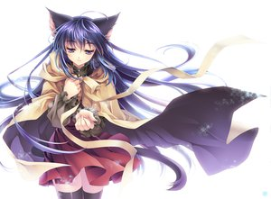 Rating: Safe Score: 83 Tags: animal_ears blue_hair catgirl long_hair purple_eyes riv snow tail thighhighs white User: haru3173