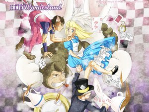 Rating: Safe Score: 11 Tags: alice_in_wonderland alice_(wonderland) animal_ears blonde_hair catboy cheshire_cat dress drink hat hiei_ishida mad_hatter signed tail User: Oyashiro-sama
