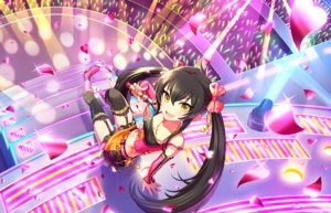 Rating: Safe Score: 21 Tags: annin_doufu black_hair boots bow garter_belt heart idolmaster idolmaster_cinderella_girls idolmaster_cinderella_girls_starlight_stage long_hair matoba_risa microphone navel necklace skirt stairs stockings tattoo thighhighs twintails yellow_eyes User: luckyluna