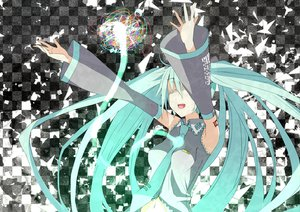 Rating: Safe Score: 33 Tags: aliasing aqua_hair eguegu hatsune_miku long_hair twintails vocaloid User: SciFi