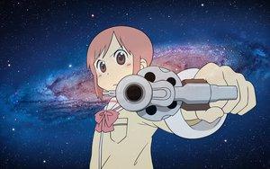 Rating: Safe Score: 43 Tags: bow gun mac nichijou pink_eyes pink_hair school_uniform tachibana_misato vector weapon User: weakling