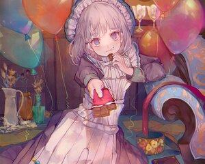 Rating: Safe Score: 52 Tags: blue_eyes blush book candy cha_goma chocolate cropped flowers goth-loli headdress lolita_fashion maid original ribbons short_hair User: otaku_emmy