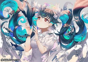 Rating: Safe Score: 55 Tags: animal balusah black_hair bubbles close dolphin fish long_hair original penguin red_eyes turtle twintails underwater water watermark User: BattlequeenYume