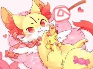 Rating: Safe Score: 40 Tags: animal blush bow candy doll fennekin fox heart lollipop pikachu pokemon red_eyes ribbons ushiinu waifu2x User: otaku_emmy