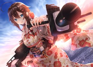 Rating: Safe Score: 58 Tags: anthropomorphism aqua_eyes brown_hair clouds japanese_clothes kantai_collection long_hair numpopo shigure_(kancolle) sky water weapon User: Nepcoheart