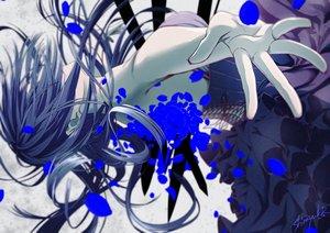 Rating: Safe Score: 32 Tags: blue_hair dress leila_(lalan) long_hair original petals polychromatic signed User: RyuZU