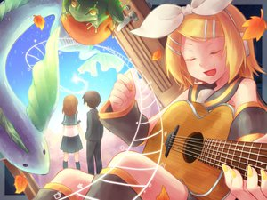 Rating: Safe Score: 34 Tags: animal apple fish frog guitar instrument kagamine_rin leaves reki_(arequa) vocaloid User: MissBMoon