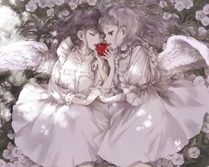 Rating: Safe Score: 48 Tags: 2girls angel apple black_hair cropped dress flowers food fruit kakmxxxny06 lolita_fashion long_hair original polychromatic white_hair wings User: mattiasc02
