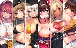 Rating: Questionable Score: 88 Tags: aliasing bandage bikini_top blonde_hair blue_eyes blush breasts brown_eyes brown_hair chain choker dark_skin flowers gray_hair halloween hat headband horns japanese_clothes long_hair matarou_(genkai_toppa) navel no_bra original pointed_ears pumpkin purple_eyes red_hair shirt_lift short_hair skirt thighhighs valentine watermark wet User: RyuZU