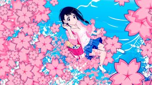 Rating: Safe Score: 73 Tags: black_hair braids cherry_blossoms necklace nisekoi onodera_kosaki red_eyes short_hair skirt socks tagme_(artist) water User: MisakaImouto