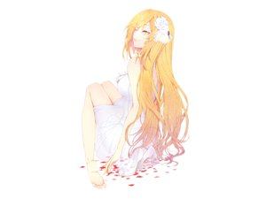 Rating: Safe Score: 163 Tags: barefoot blonde_hair dress long_hair petals rochen shokuhou_misaki to_aru_kagaku_no_railgun to_aru_majutsu_no_index white yellow_eyes User: FormX