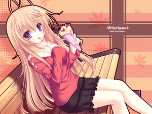 Rating: Safe Score: 81 Tags: bench blonde_hair meri_chri mikagami_mamizu purple_eyes seiya_mashiro skintight skirt User: 秀悟