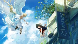 Rating: Questionable Score: 38 Tags: 2girls angel blonde_hair building clouds dress hat ihachisu long_hair nipples no_bra original paper ponytail sideboob sky wings witch witch_hat User: BattlequeenYume