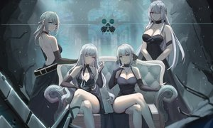 Rating: Safe Score: 166 Tags: ak12_(girls_frontline) ak15_(girls_frontline) an94_(girls_frontline) anthropomorphism braids breasts changpan_hutao cleavage couch cross dress elbow_gloves girls_frontline gloves gray_hair green_eyes group long_hair necklace pink_eyes purple_eyes rpk-16_(girls_frontline) short_hair wink User: Arsy
