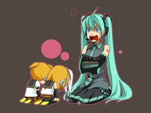 Rating: Safe Score: 52 Tags: gray hatsune_miku kagamine_len kagamine_rin mknown vocaloid User: anaraquelk2