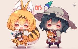Rating: Safe Score: 40 Tags: 2girls animal_ears anthropomorphism catgirl chibi doll kaban kemono_friends muuran serval tail User: RyuZU