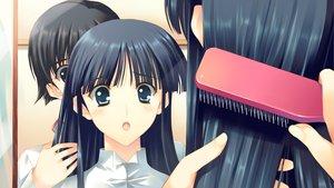 Rating: Safe Score: 26 Tags: black_hair blue_eyes blush brown_eyes close game_cg kitahara_haruki long_hair male mirror reflection short_hair touma_kazusa white_album_2 User: Maboroshi