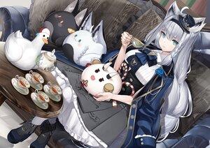 Rating: Safe Score: 55 Tags: animal animal_ears bird dress drink foxgirl gray_hair hat headband hololive lamium_(artist) long_hair shirakami_fubuki User: BattlequeenYume