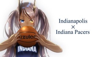 Rating: Safe Score: 26 Tags: anthropomorphism azur_lane ball basketball bicolored_eyes dark_skin gray_hair horns indianapolis_(azur_lane) long_hair sport twintails white yakkuro User: otaku_emmy