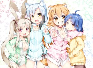 Rating: Safe Score: 44 Tags: animal_ears bell blush breasts cleavage collar cross fang group hoodie inumine_aya long_hair no_bra original pink_eyes short_hair shorts twintails yellow_eyes User: RyuZU