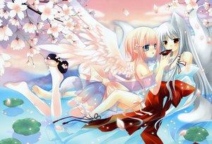 Rating: Safe Score: 74 Tags: animal_ears dengeki_moeoh foxgirl gray_hair hinayuki_usa no_bra original panties pink_hair sakurazawa_izumi see_through tail underwear water wings User: FormX