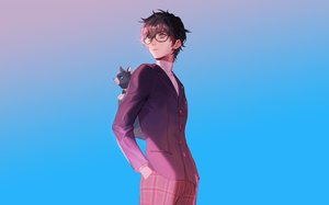 Rating: Safe Score: 23 Tags: all_male amamiya_ren animal black_hair blue cat glasses gradient male naked_cat persona persona_5 short_hair User: RyuZU