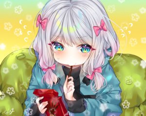Rating: Safe Score: 60 Tags: aqua_eyes blush bow close cropped eromanga-sensei food gradient gray_hair hoodie izumi_sagiri pocky signed urim_(paintur) User: otaku_emmy
