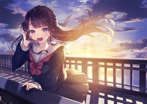 Rating: Safe Score: 31 Tags: black_hair blush clouds kusaka_kou long_hair original purple_eyes seifuku skirt sky sunset User: RyuZU