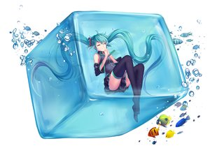 Rating: Safe Score: 117 Tags: animal bubbles fish hatsune_miku skirt thighhighs tiwing twintails vocaloid water white User: Flandre93