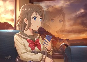 Rating: Safe Score: 67 Tags: blue_eyes bow brown_hair clouds love_live!_school_idol_project love_live!_sunshine!! phone reflection seifuku shamakho short_hair signed sky sunset watanabe_you User: RyuZU
