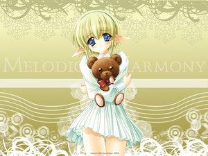 Rating: Safe Score: 16 Tags: blonde_hair blue_eyes carnelian dress moldavite pointed_ears teddy_bear User: Oyashiro-sama