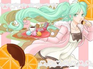 Rating: Safe Score: 16 Tags: aqua_eyes aqua_hair candy ceriseen_(toukou_sakuhin) chocolate dress drink food fruit hatsune_miku long_hair orange_(fruit) phone twintails vocaloid User: HawthorneKitty