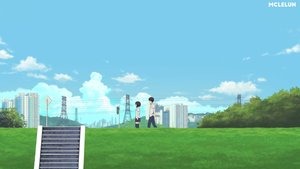 Rating: Safe Score: 8 Tags: black_hair building city clouds grass kneehighs male mclelun original scenic seifuku short_hair skirt sky stairs watermark User: RyuZU