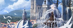 Rating: Safe Score: 45 Tags: animal animal_ears bird braids building clouds dress long_hair original red_eyes scenic sky tagme_(artist) white_hair User: BattlequeenYume