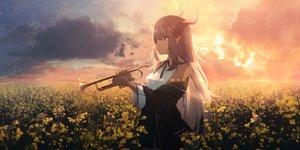 Rating: Safe Score: 70 Tags: horns instrument long_hair original pointed_ears sagiri_(ulpha220) sunset User: BattlequeenYume