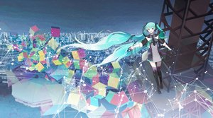 Rating: Safe Score: 94 Tags: aqua_hair building chris4708 city hatsune_miku scenic thighhighs tie twintails vocaloid User: Flandre93
