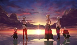 Rating: Safe Score: 54 Tags: final_fantasy final_fantasy_xiv group male minfilia_warde papalymo_totolymo potion_lilac_(popopotionu) reflection sunset thancred_waters water yda_hext y'shtola_rhul User: SciFi
