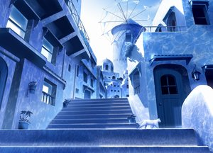 Rating: Safe Score: 78 Tags: animal blue building cat gensuke monochrome nobody original scenic stairs User: FormX