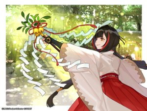 Rating: Safe Score: 42 Tags: bell black_hair elbow_gloves forest gloves japanese_clothes long_hair miko orange_eyes staff tree twintails wixoss yukime_(wixoss) yuu_(higashi_no_penguin) User: otaku_emmy