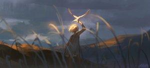 Rating: Safe Score: 49 Tags: alzi_xiaomi animal bird clouds dress grass original scenic short_hair signed sunset white_hair User: mattiasc02