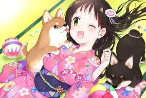 Rating: Safe Score: 25 Tags: animal ball blush brown_hair dog gradient green_eyes japanese_clothes kakizato kimono long_hair original wink User: BattlequeenYume