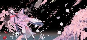 Rating: Safe Score: 33 Tags: black_hair bones cherry_blossoms demon flowers horns japanese_clothes kimono long_hair petals pink_eyes shikimi_(yurakuru) skull User: otaku_emmy