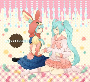 Rating: Safe Score: 23 Tags: animal_ears aqua_eyes aqua_hair bow dress hatsune_miku lots_of_laugh_(vocaloid) momoiro_oji twintails vocaloid User: anaraquelk2